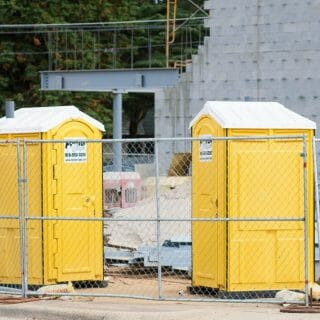 forever clean portable restrooms in construction gates
